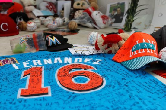 A makeshift memorial made by fans mourning the death of Miami Marlins pitcher Jose Fernandez is seen Sept. 26 outside Marlins Park in Miami. The 24-year-old pitcher, who defected from Cuba at 15 and went on to become one of baseball's brightest stars, was killed Sept. 25 in a boating accident in Miami Beach, along with two other men. CNS photo/Andrew Innerarity, Reuters