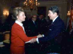 Schlafly with Ronald Reagan in 1987