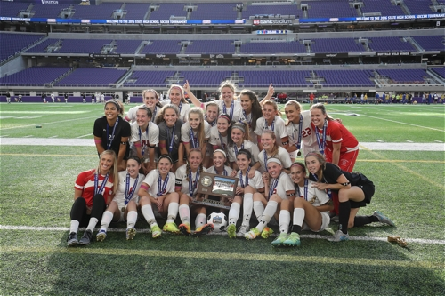 Benilde-St. Margaret's in St. Louis Park won its second consecutive girls state soccer championship Nov. 3 at US Bank Stadium. Maren Noble, a senior midfielder, scored two goals for Benilde-St. Margaret's in a 2-1 win over Mankato West for a second-straight Class A title. BSM finished the season 18-4-1.
