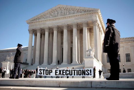 Protesters calling for an end to the death penalty