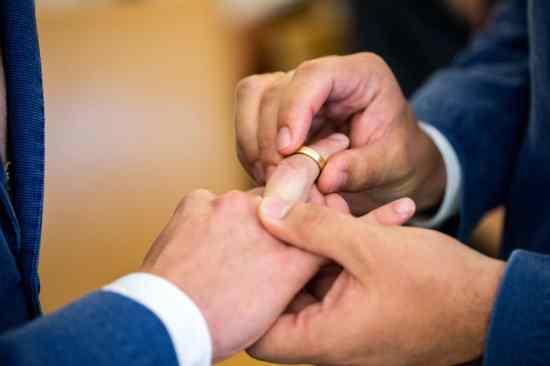 Same-sex partners exchange wedding bands