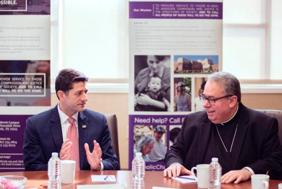 House Speaker Paul Ryan visits with Bishop Michael Olson