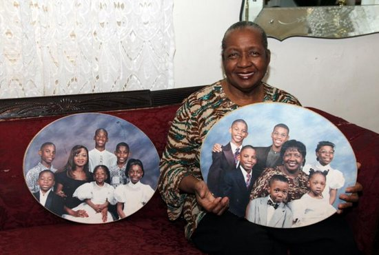 Sharonell Fulton displays pictures of some of her foster care children