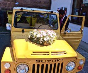 A wedding car is seen in Nuremberg, Germany