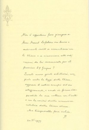 Note written by Pope Paul VI questions whether an invitation should be issued to Archbishop Marcel Lefebvre of the traditionalist Society of St. Pius X to reconcile with the church.