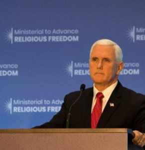 U.S. Vice President Mike Pence speaks July 26 at the State Department in Washington during the Ministerial to Advance Religious Freedom.