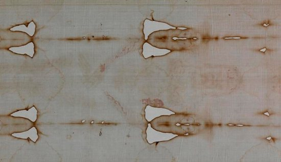 A detail view of the Shroud of Turin