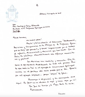The letter Pope Francis wrote to Bishop Santiago Silva Retamales, president of the Chilean bishops' conference, on Aug. 5.
