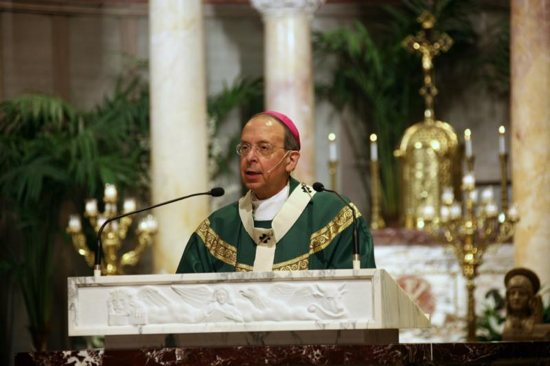 Baltimore Archbishop William Lori, apostolic administrator of the Diocese of Wheeling-Charleston, W.Va., delivers the homily during a Mass he celebrated Sept. 15 at the Cathedral of St. Joseph in Wheeling.