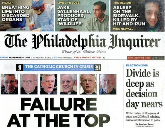 """The Inquirer and Boston Globe newspapers teamed up for an article published in both daily papers Nov. 4 that examined ways it said the U.S. bishops have failed to police themselves even since their 2002 gathering in Dallas about clergy sex abuse when they """"promised that the church's days of concealment and inaction were over."""""""