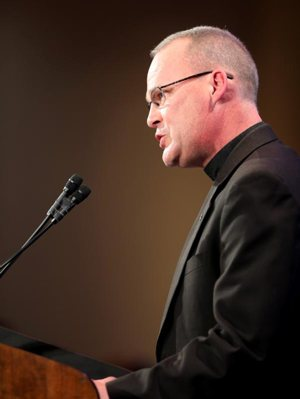 Father David Whitestone, chair of the U.S. bishops' National Advisory Council, speaks Nov. 13 at the fall general assembly of the U.S. Conference of Catholic Bishops in Baltimore.