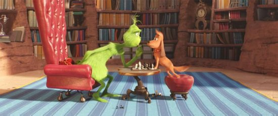 "The Grinch, voiced by Benedict Cumberbatch, is seen with Max the dog in the animated movie ""Dr. Seuss' The Grinch."""