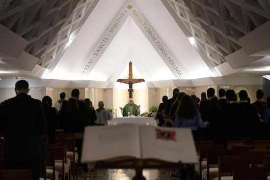 Pope Francis celebrates morning Mass in the chapel of his residence, the Domus Sanctae Marthae, at the Vatican Nov. 27.