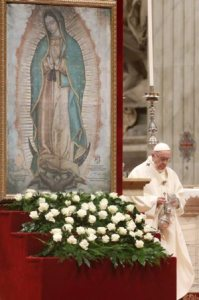 Pope Francis celebrates Mass Dec. 12 marking the feast of Our Lady of Guadalupe in St. Peter's Basilica at the Vatican.