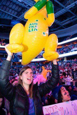 Among those attending the Archdiocese of Washington's Jan. 18 Youth Rally for Life at the Capital One Arena was Monica Pazniewski, a 23-year-old college student from Sydney, Australia, waving a life-sized inflatable yellow plastic kangaroo with green boxing gloves.