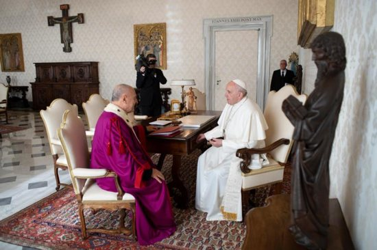 Pope Francis meets privately with Msgr. Pio Vito Pinto, dean of the Roman Rota, Jan. 29, 2019, before he addressing all the members of the Vatican tribunal, which deals mostly with marriage cases.
