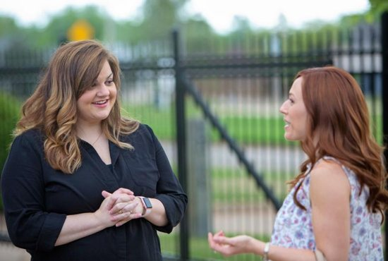 "Abby Johnson, left, is seen on the set of the movie ""Unplanned"" with actress Ashley Bratcher, who plays her. The movie details the story of Johnson, a former Planned Parenthood administrator who quit that job to join the pro-life movement after her up-close interaction with abortion."
