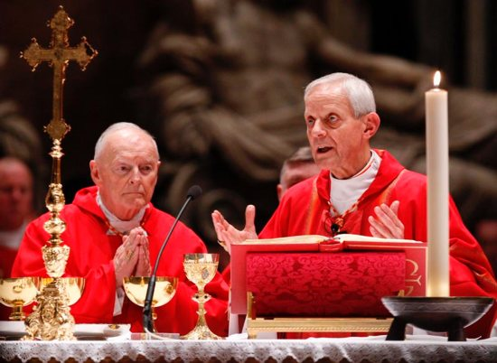 In this 2010 file photo, Cardinal Donald W. Wuerl, now retired archbishop of Washington, concelebrates Mass in St. Peter's Basilica at the Vatican with then-Cardinal Theodore E. McCarrick. Now-Archbishop McCarrick was removed from ministry last year after abuse allegations against him came to light. He resigned from the College of Cardinals last June and now resides at a Kansas friary awaiting a Vatican trial.