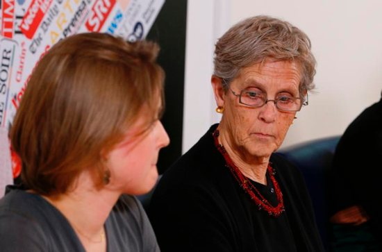 Barbara Dorris, an abuse survivor and former executive director of Survivors Network of those Abused by Priests, attends a news conference at the Foreign Press Club in Rome Feb. 19, 2019. At left is Zuzanna Flisowska. The news conference was held to talk about the abuse of women as the Vatican prepares for its Feb. 21-24 meeting on the protection of minors in the church.