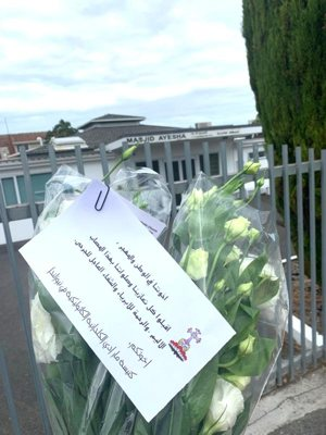 """Members of the Chaldean Catholic community in Papatoetoe, New Zealand, placed flowers and a tribute outside Ayesha Mosque after the March 15, 2019, attacks on two mosques in Christchurch. The message reads in part: """"Please accept our prayer and condolences in this terrible, painful time. God have mercy on the people and we pray for the injured ones. Your brothers, St. Addai Catholic Church, New Zealand."""""""