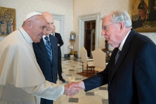 Pope Francis meets March 9, 2019, with M. Russell Ballard, president of the Quorum of the Twelve Apostles of the Church of Jesus Christ of Latter-day Saints. Ballard and other top officials of the church met the pope at the Vatican the day before inaugurating Rome's new Mormon temple.