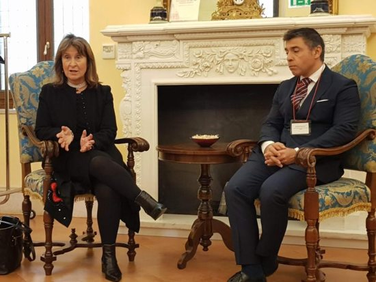 Baroness Helena Ann Kennedy, director of the International Bar Association's Human Rights Institute, and Leonardo Javier Raznovich, member of the Inter-American Institute of Human Rights, talk with journalists in Rome April 5, 2019. A 50-member delegation of lawyers, politicians and human rights advocates met with Cardinal Pietro Parolin, Vatican secretary of state, to discuss the decriminalization of homosexuality.