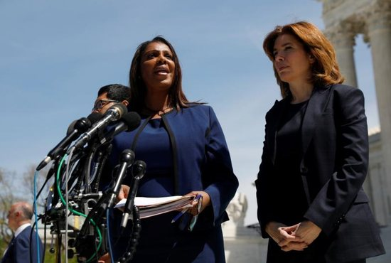 New York Attorney General Letitia James speaks to the media outside the U.S. Supreme Court in Washington April 23, 2019, following oral arguments in the case about a citizenship question for the census. During oral arguments, a majority of justices seemed in favor of adding the question to the 2020 census.