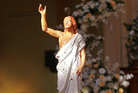 A blood-stained statue of Christ is seen after a bombing at St. Sebastian Church in Negombo, Sri Lanka, April 21, 2019. At least 200 people were killed and hundreds more injured on Easter Sunday in Sri Lanka when attackers unleashed an apparently coordinated series of bombings that simultaneously targeted Christian churches and luxury hotels.