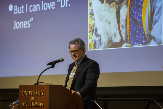 Dr. John Berkman speaks at the All Creatures Great and Small event in the Woulfe Alumni Hall on Thursday Feb. 28, 2019.