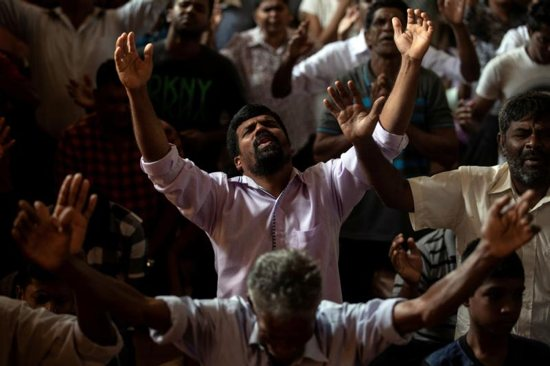 Members of Zion Church, which was bombed on Easter Sunday, pray at a community hall in Batticaloa, Sri Lanka, May 5, 2019. In the wake of deadly Easter terrorist attacks on Sri Lanka churches and other sites, Pope Francis condemned the brutal killings and called on all Sri Lankans to strengthen efforts to foster peace and justice.