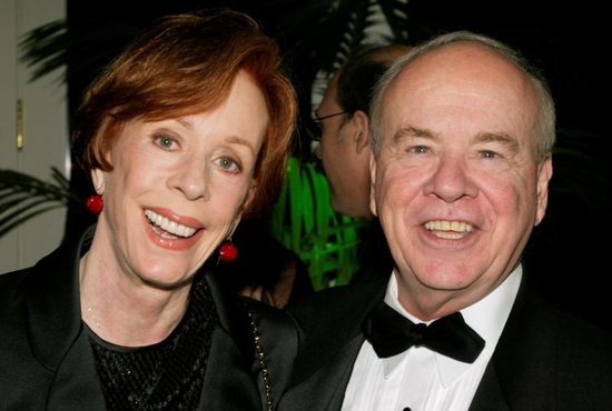 "Actor Tim Conway poses with actress Carol Burnett Nov. 6, 2002, at the Academy of Television Arts & Sciences' 15th annual Hall of Fame ceremony in Beverly Hills, Calif. Conway, a Catholic, who won four Emmy Awards on the ""Carol Burnett Show,"" died May 14, 2019, at age 85. He also starred in ""McHale's Navy"" and later voiced the role of Barnacle Boy for ""Spongebob Squarepants."""