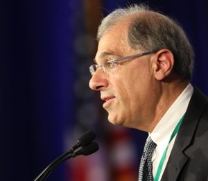 Francesco Cesareo, chairman of the National Review Board, speaks on the first day of the spring general assembly of the U.S. Conference of Catholic Bishops in Baltimore June 11, 2019.