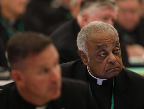 Washington Archbishop Wilton D. Gregory listens to a speaker on the first day of the spring general assembly of the U.S. Conference of Catholic Bishops in Baltimore June 11, 2019.