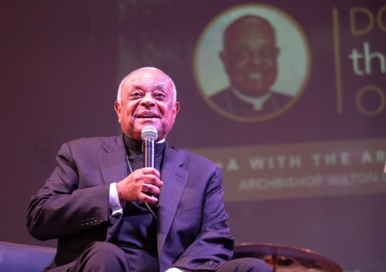 Washington Archbishop Wilton D. Gregory answers questions and listens to the young people