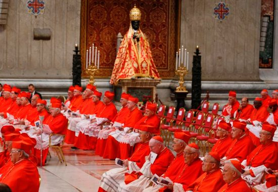 Cardinals attend a consistory led by Pope Francis