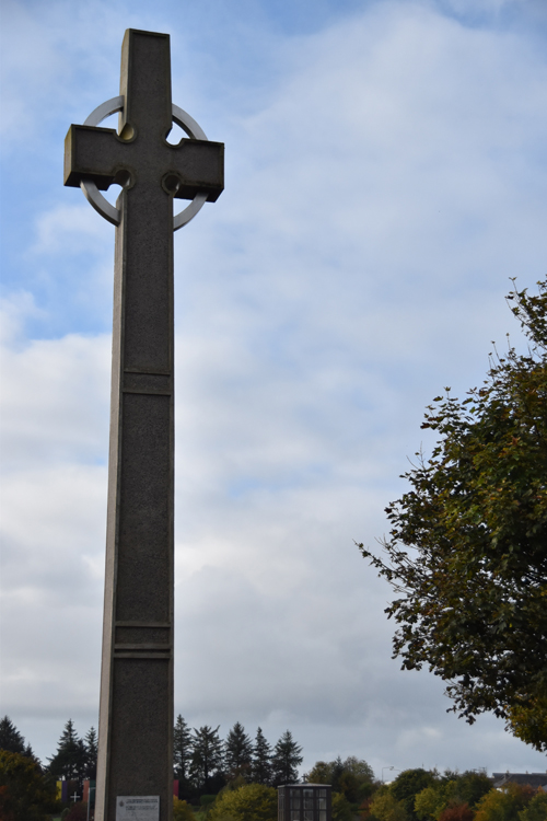 A cross commemorating St. John Paul II's visit to Knock in 1979. (Sun photo | Katherine Long)