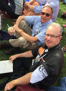Fathers Fred Daley, pastor of All Saints Parish in Syracuse, and Tim Taugher, pastor of St. Francis of Assisi Parish in Binghamton, at Independence Mall in Philadelphia Sept. 26. (Sun photo   Katherine Long)