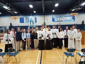 Bishop Grimes Jr./Sr. High School hosted a May Crowning prayer service May 12, led by Father Peter Tassini and Msgr. Richard Kopp. - Photo courtesy Bishop Grimes Jr./Sr. High School