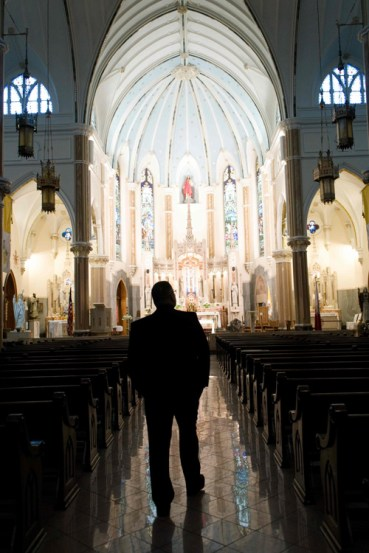 Bishop-elect Lucia takes in the beauty of the Basilica of the Sacred Heart of Jesus. (Sun photos by Chuck Wainwright