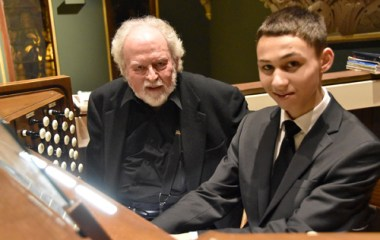 Steve with Dominic - Just 14, he's 'preaching from the organ bench'