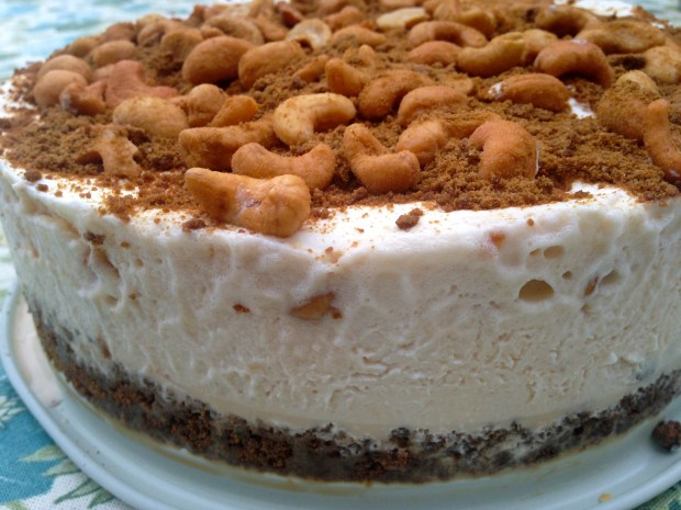 No Bake Cashew & Salted Caramel Ice Cream Cake