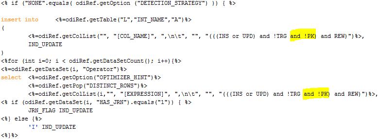 ODI Sequences IKM Change Integration Table