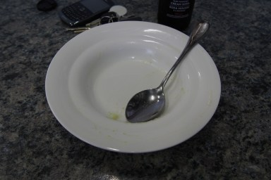 empty soup bowl after students complete their work and their hungry