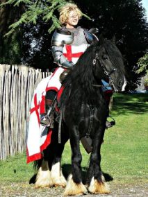 The Cavalry of Heroes The Legend of St George, appearance as Knight on Horseback at Hay on Wye Castle with a Dragon by Marc Lovatt as an English Knight