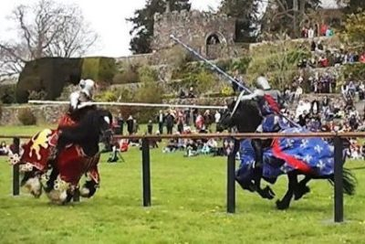 Berkeley Castle Medieval Jousting Show 2017 - The Cavalry of Heroes Knights on Horseback. Family Entertainment for shows and events, with main arena acts and displays