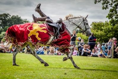 Flavours of Fingal Country Show Dublin Ireland - The Cavalry of Heroes Medieval Jousting Horse Stunt Show - Golden Knight Marc Lovatt Vault Trick Riding Sequence 1
