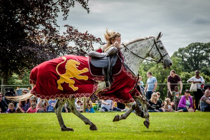 Flavours of Fingal Country Show Dublin Ireland - The Cavalry of Heroes Medieval Jousting Horse Stunt Show - Golden Knight Marc Lovatt Vault Trick Riding Sequence 2