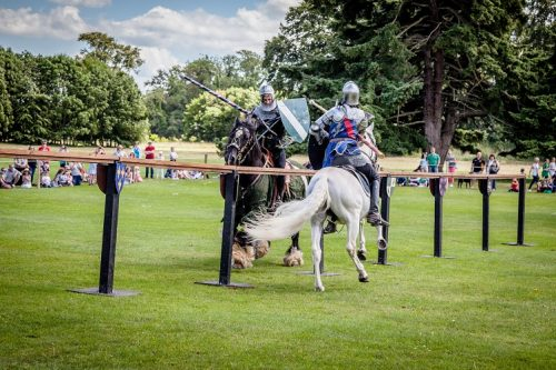 Flavours of Fingal Country Show Dublin Ireland - The Cavalry of Heroes Medieval Jousting Horse Stunt Show - Green Knight defending himself against Sir Lancelot