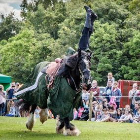 Flavours of Fingal Country Show Dublin Ireland - The Cavalry of Heroes Medieval Jousting Horse Stunt Show - Green Knight Handstand on Horse, Trick Ride
