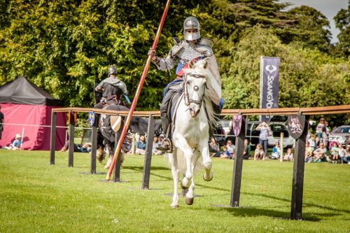 Flavours of Fingal Country Show Dublin Ireland - The Cavalry of Heroes Medieval Jousting Horse Stunt Show - Knight Sir Lancelot successful joust